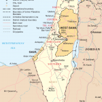 Map of Israel including Gaza, the West Bank, and the Golan Heights